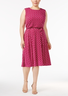 Charter Club Plus Size Printed Belted Dress, Only at Macy's