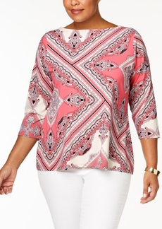 Charter Club Plus Size Printed Boat-Neck Top, Created for Macy's