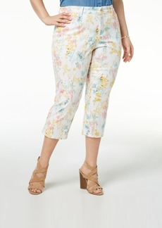 Charter Club Plus Size Printed Capri Jeans, Created for Macy's