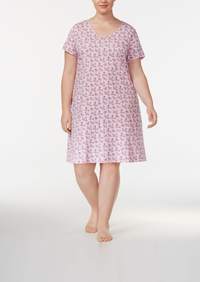 268d18d2134 Charter Club Plus Size Printed Cotton Knit Sleepshirt With Matching Socks