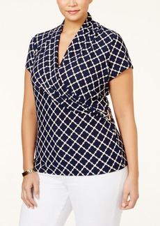 Charter Club Plus Size Printed Crossover Wrap Top, Only at Macy's