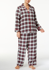 Charter Club Plus Size Printed Flannel Pajama Set, Created for Macy's