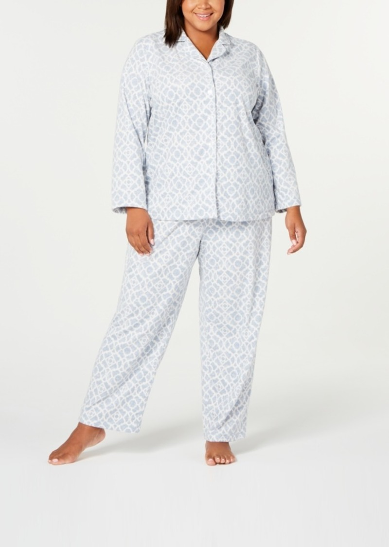 Charter Club Plus Size Printed Fleece Pajamas Set, Created for Macy's