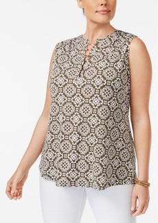 Charter Club Plus Size Printed Henley Top, Created for Macy's