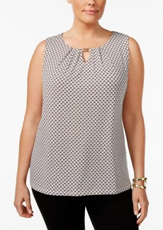 Charter Club Plus Size Printed Keyhole Shell, Only at Macy's