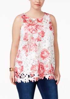 Charter Club Plus Size Printed Lace Tunic, Only at Macy's