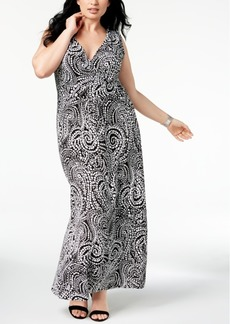 Charter Club Plus Size Printed Maxi Dress, Created for Macy's