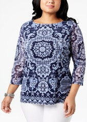 Charter Club Plus Size Printed Mesh Top, Created for Macy's