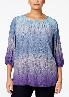 Charter Club Plus Size Printed Ombre Tunic, Only at Macy's