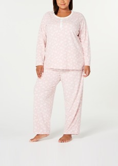 Charter Club Plus Size Super Soft Textured Fleece Pajamas, Created For Macy's