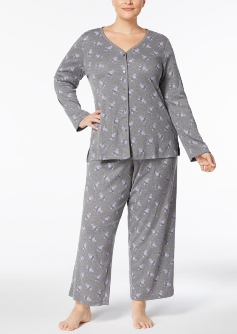 5858ac557aca Charter Club Plus Size Printed Picot-Trim Pajama Set, Created for Macy's