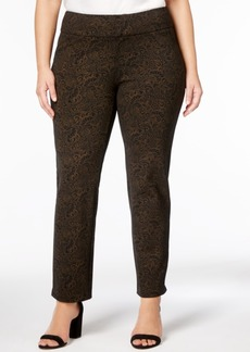 Charter Club Plus Size Printed Ponte Slim-Leg Pants, Created for Macy's
