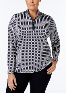 Charter Club Plus Size Printed Quarter-Zip Top, Only at Macy's
