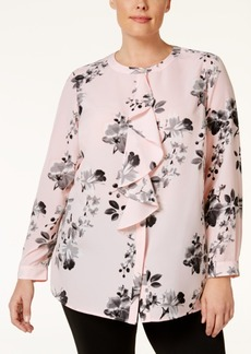 Charter Club Plus Size Printed Ruffle Blouse, Only at Macy's