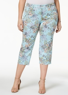 Charter Club Plus Size Printed Tummy-Control Capri Jeans, Created for Macy's