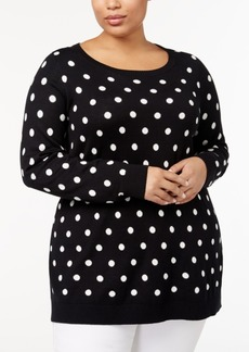 Charter Club Plus Size Printed Tunic Sweater, Created for Macy's