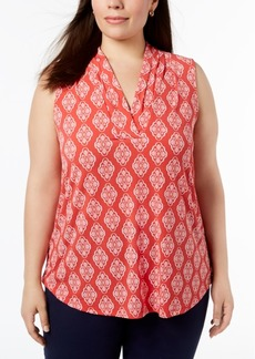 Charter Club Plus Size Printed V-Neck Blouse, Created for Macy's