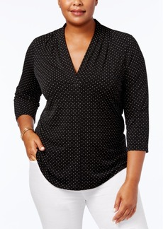 Charter Club Plus Size Dot Print V-Neck Top, Created for Macy's