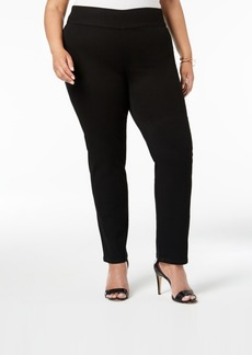 Charter Club Plus Size Pull-On Stretch Straight-Leg Jeans, Created for Macy's
