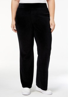 Charter Club Plus Size Pull-On Velour Pants, Created for Macy's