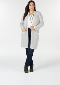 Charter Club Plus Size Pure Cashmere Border-Stripe Cardigan, Created for Macy's
