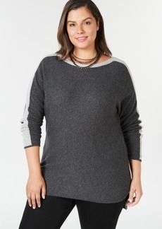 Charter Club Plus Size Pure Cashmere Contrast-Stripe Sweater, Created for Macy's