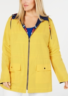 Charter Club Plus Size Reversible Hooded Anorak Jacket, Created for Macy's