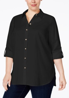 Charter Club Plus Size Roll-Tab Button Down Shirt, Only at Macy's