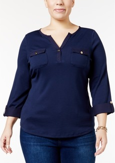 Charter Club Plus Size Roll-Tab Henley Top, Only at Macy's