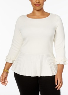 Charter Club Plus Size Ruffled Peplum Sweater, Created for Macy's