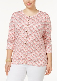 Charter Club Plus Size Scallop-Print Cardigan, Only at Macy's