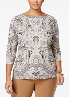 Charter Club Plus Size Scarf-Print Boat-Neck Top, Only at Macy's