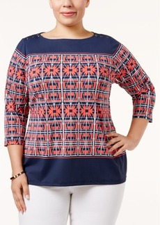 Charter Club Plus Size Scarf-Print Top, Only at Macy's