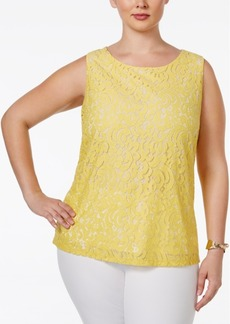 Charter Club Plus Size Sleeveless Lace Top, Only at Macy's