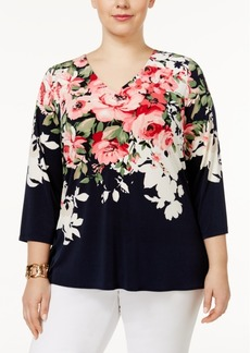 Charter Club Plus Size Split-Back Top, Only at Macy's
