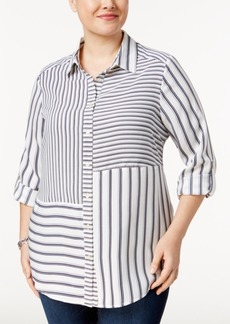 Charter Club Plus Size Striped Button-Down Blouse, Only at Macy's