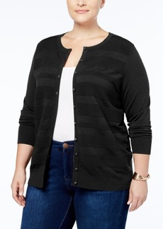 Charter Club Plus Size Striped Cardigan, Created for Macy's
