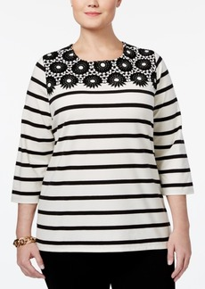 Charter Club Plus Size Striped Crochet-Trim Top, Only at Macy's