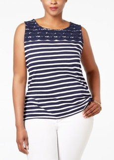 Charter Club Plus Size Striped Crocheted-Yoke Top, Only at Macy's