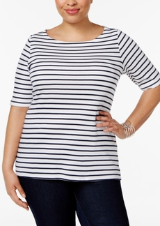 Charter Club Plus Size Striped Elbow-Sleeve Top, Only at Macy's