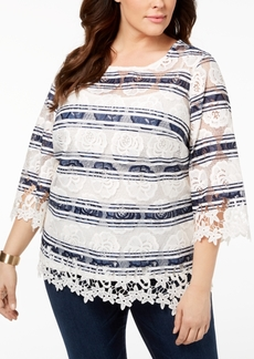 Charter Club Plus Size Striped Lace Blouse, Created for Macy's
