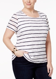 Charter Club Plus Size Striped Lace Top, Only at Macy's