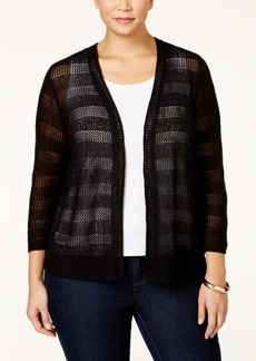 Charter Club Plus Size Striped Open-Knit Cardigan, Only at Macy's