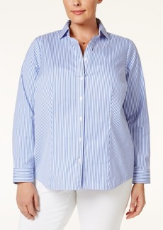 Charter Club Plus Size Striped Shirt, Only at Macy's