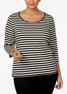Charter Club Plus Size Striped Top, Only at Macy's