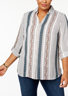 Charter Club Plus Size Striped Utility Blouse, Only at Macy's