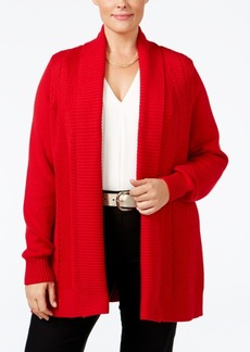 Charter Club Plus Size Textured Open-Front Cardigan, Only at Macy's