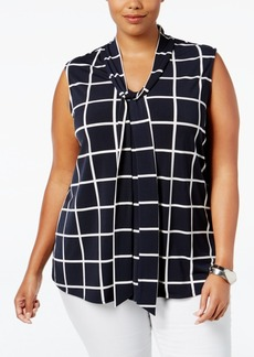 Charter Club Plus Size Tie-Neck Bow Top, Only at Macy's