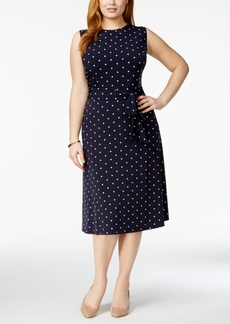 Charter Club Plus Size Tied-Waist Polka Dot Midi Dress, Only at Macy's