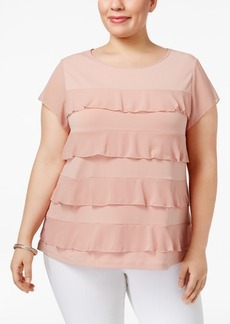 Charter Club Plus Size Tiered Ruffled Top, Only at Macy's